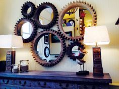 NEW ARRIVAL - IN STORE NOW! These six COG MIRRORS interconnect to create this bold & stunning look! They available in various sizes and are sold separately to make your own wall arrangement.
