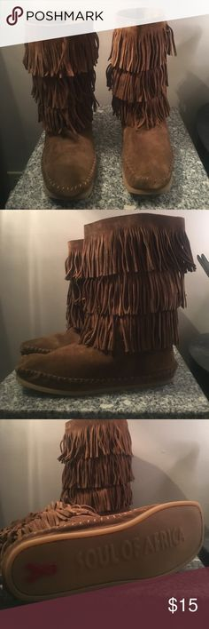 Never Worn Fringe Boots (Breast Cancer Edition) Never Worn! Breast cancer edition! Size 9! Soul of Africa Shoes Ankle Boots & Booties