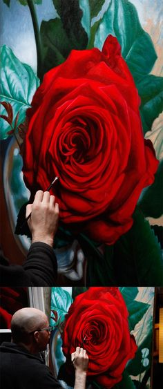 Artist Vincent Keeling in the process of painting one of his roses.