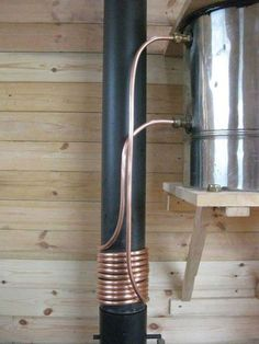 For Cooking And Hot Water, A Cool Creative Wood Stove Combination!