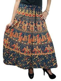 Womens Peasant Skirts Maxi Skirt Tribal Boho Chic