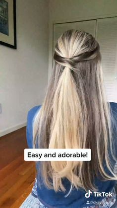 Easy Hairstyle Video, Easy Hairstyles For Long Hair, Pretty Hairstyles, Easy Hairstyles Tutorials, Work Hairstyles, Hairstyles Videos, Medium Long Hairstyles, Long Straight Hairstyles, Running Late Hairstyles