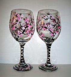 Cherry Blossoms Handpainted Wine Glasses Set of 2  20 oz.. $45.00, via Etsy.