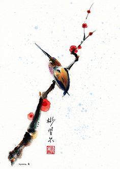 """""""Whisper"""" Spontaneous (Xie Yi) style Chinese brush painting on rice paper by bgsearle."""