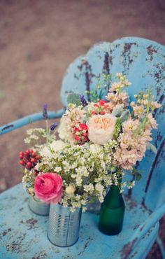 Tins & bottles for flowers