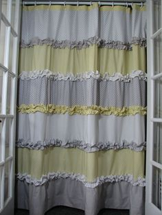 Yellow and Grey Shower Curtain by GiulianaDesign on Etsy