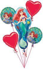 Disney Princess Little Mermaid Birthday Balloon Bouquet Balloon Decorations Party, Birthday Decorations, Birthday Ideas, Birthday Parties, 5th Birthday, Mermaid Happy Birthday, Happy Birthday Balloons, 5 Balloons, Heart Balloons
