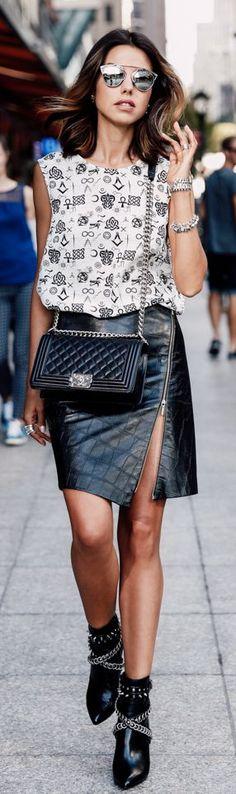 Black Zipped Leather Skirt N Y F W Fall Inspo by Vivaluxury