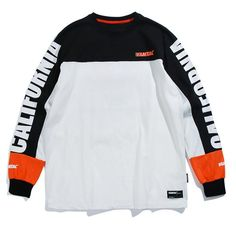 Aelfric Eden Long Sleeve T-shirts Men Letter Printed Casual T Shirt Color Block Fashion Harajuku Cotton Hip Hop Tee Shirt love skulls get your skulls. Casual T Shirts, Tee Shirts, Tees, Colour Blocking Fashion, Logos Retro, Hip Hop, Harajuku, Little Boy Outfits, Great T Shirts