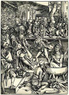 Albrecht Durer, The martyrdom of St John, Woodcut from Apocalypse Series, 1496-1497, Bartsch 61