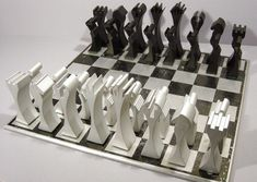 "Created by the Columbia Aluminum Extrusion Group, the ""Aluminum Chess Set"" is a limited edition chess set produced for promotional purposes in the mid-1990s"