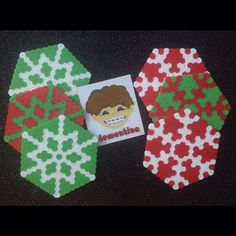 Christmas coasters hama beads by Clementina Inventa