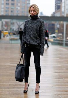 skinny black pants, heather gray turtle neck, knitwear, street style
