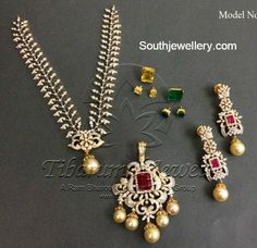 3 in 1 Diamond Necklace - Indian Jewellery Designs Diamond Necklace Simple, Diamond Pendant, Gold Pendant, Pendant Jewelry, Bold Necklace, Craft Jewelry, Diamond Earrings, Pearl Necklace, Diana
