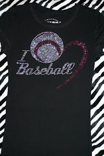 Softball instead of baseball for mom shirt.  Oh how I love bling!