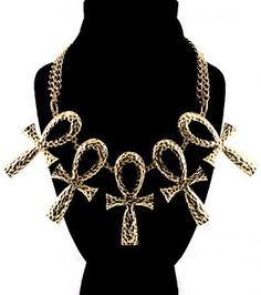 Ankh Necklace Statement Cross Collar Gold Tribal Chunky Armor Pendant Rihanna Inspired Double Chain