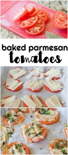 These baked parmesan tomatoes are to die for! Low carb and lots of flavor for a side for dinner.