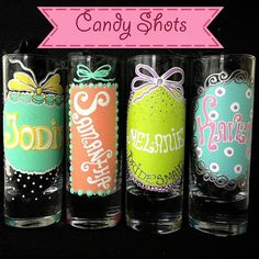 Personalized Hand Painted  Shot  glass set Wine by AlenaShop, $23.99 bachelorette party ideas hen do party table setting