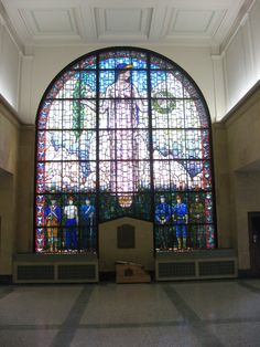 Veterans Memorial Building with Grant Wood Stained Glass Window--Cedar Rapids, Iowa