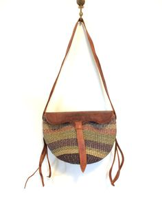 34148c6a71 Sisal Market Purse   Basket Weave Bag With Leather Detail   Straps