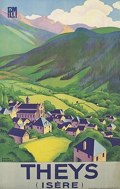 Luv! Vintage Train Travel Poster by Roger Broders: Theys (Isere), France 1930