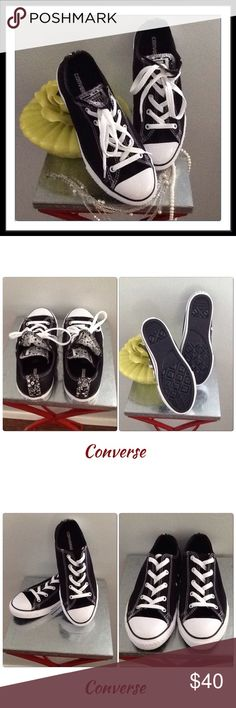 Black & White Converse NWOT So cute! You can dress up or down. They're new without tags. The size on shoes are 4 juniors but majority of the time I wear 7 in women's and these feel more like a 7 1/2 which is why I have to part with them. Converse Shoes