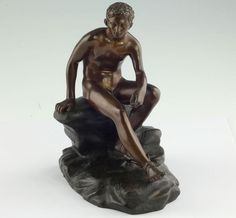 Bronze Skulptur Sitzender Hermes Merkur Götterbote um 1850 Italien Grand Tour