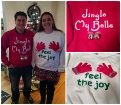 Holiday sweaters pair: Jingle My Bell & Feel the Joy