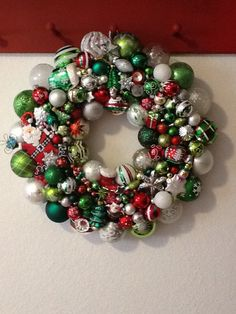Used a lot of green glass ornaments with red and white accent colors...this one made for Gail and Scott.