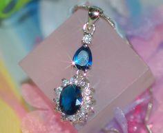 Vintage design pendant with created sapphire and Diamond, $19.99