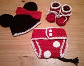 Baby Minnie Mouse Inspired Set Hat Diaper Cover Booties in Cherry Red Black White - Winter Outfit Newborn Boy Girl Thanksgiving Photo Prop