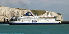 MS Pride of Calais and the White Cliffs of Dover, Dover Harbour, Kent, England, UK. Built by Schichau Unterweser AG in 1987 for Townsend Thoresen, then P and O Ferries. Now Ostend Spirit for Transeuropa Ferries. Ex-P and OSL Calais (P and O SL, Stena Line), PO Calais. Call Sign GJLY, IMO 8517748, MMSI 232001710. Departing Eastern Docks on cross-English Channel route. View: Prince of Wales Pier. Port of Dover Ferry, Ship, Travel, Tourism and Vacation. See: http://www.panoramio.com/photo/38378633