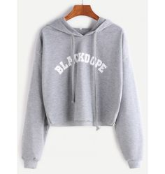 Kurzes Sweatshirt 2017 mit Kapuze Buchstaben Druck Grau