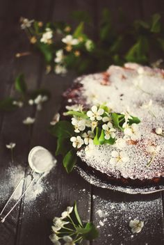 Peppermint Pear Cake -  Made with pears, almond paste and crushed candy canes.  Garnished with pear blossoms.
