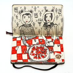 SKETCH BOOK- In The Last Supper, Moscow-based artist Nataliya Platonova filled every page of her little notebook with clever illustrations and she utilized the crease to add dimension to each playful scene. The project features all kinds of interesting characters about to enjoy a meal at the dinner table.