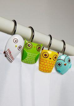 owl shower curtain hooks... WANT