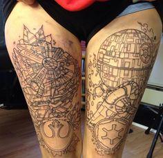 Death Star and Millennium Falcon tattooed on girl's legs