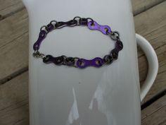 Metallic purple bracelet handmade from BMX by GemstoneBikeJewelry Handmade Bracelets, Handmade Gifts, Bmx, Metallic, Chain, Purple, Trending Outfits, Unique Jewelry, Silver