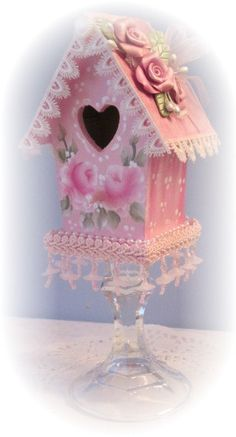 BIRDHOUSE Shabby Cottage Hand Painted Pink by RoseChicFriends, $18.99