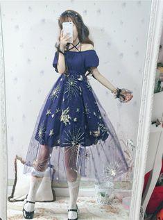 Japanese Harajuku Blue Star Unicorn Mesh Sheer Dress I love the dress, but full white knit stockings would've been the cutest Kawaii Fashion, Lolita Fashion, Cute Fashion, Harajuku Fashion, 90s Fashion, Girl Fashion, Pretty Outfits, Pretty Dresses, Beautiful Dresses