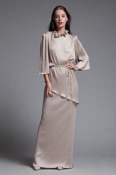 1e04975ed35 2 piece maxi dress skirt set ruffled shiny taupe pleated knit asymmetrical vintage  70s LARGE L