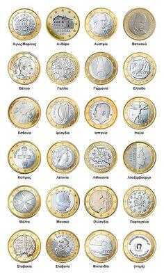 ΠΟΔήΛΑΤΟ: Τα κέρματα του ευρώ(εθνικές όψεις) Circle Time, Saving Money, Coins, Preschool, Numeracy, Trier, Rooms, Save My Money, Kid Garden