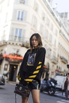 """bestfashionbloggers: """"Song of Style / Oversized Hoodie and Patent Leather Skirt in Paris http://ift.tt/2e2SXG4 // see more at bestfashionbloggers.com """" Aimee Song"""