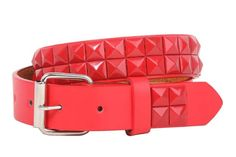 "Kids 1"" Snap On Punk Rock Red Star Studded Leather Belt"