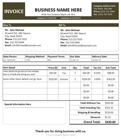 Best Photos Of Auto Repair Invoice Template Printable Auto Body - Repair invoice template free online lighting stores