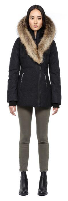 Mackage - TEGAN CHARCOAL WOOL WINTER DOWN JACKET FOR WOMEN WITH FUR HOOD. www.mackage.com #winter #parka #womenswear #fw14 #mackage #themackagecollar