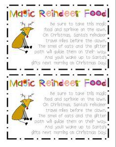 Magic Reindeer Food FREEBIE!