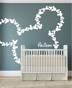 Mickey Mouse Wall Decal for Baby Nursery, thinking about doing this with babys name