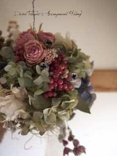 ボールリースNO.4 - ドライフラワーリース&アレンジ   Dried Flower Arrangement ''Peony'' ピオニー