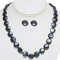 """14-15mm Black Coin Freshwater Pearl 925 Sterling Silver Necklace Earring Set 18"""" Gem Stone King. $29.99. .925 Sterling Silver. 18 inches. Freshwater Pearls. Save 68% Off!"""